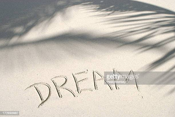 Dream Message Hnadwritten in Sand with Palm Shadows