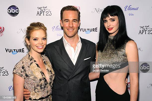 Dreama Walker James Van Der Beek and Krysten Ritter attend the premiere party for 'Don't Trust The B In Apt 23' hosted by New York Magazine and...