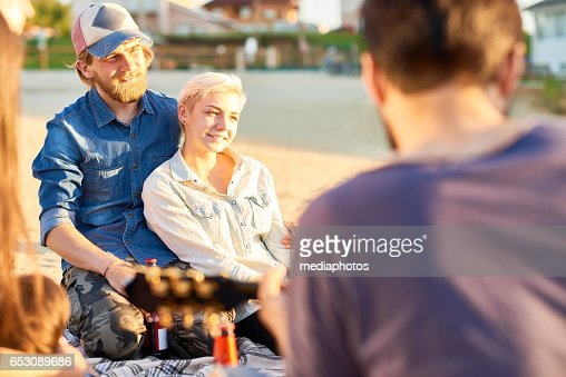 Dreamful couple on beach : Stock Photo