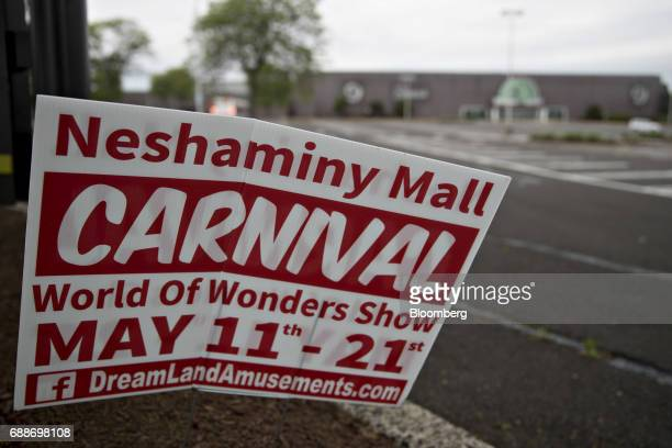 A Dreamland Amusements carnival sign stands on display in the parking lot of the Neshaminy Mall in Bensalem Pennsylvania US on Saturday May 20 2017...