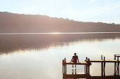 happy people, daydreamer, man enjoying beautiful view of the lake, inspiration in nature