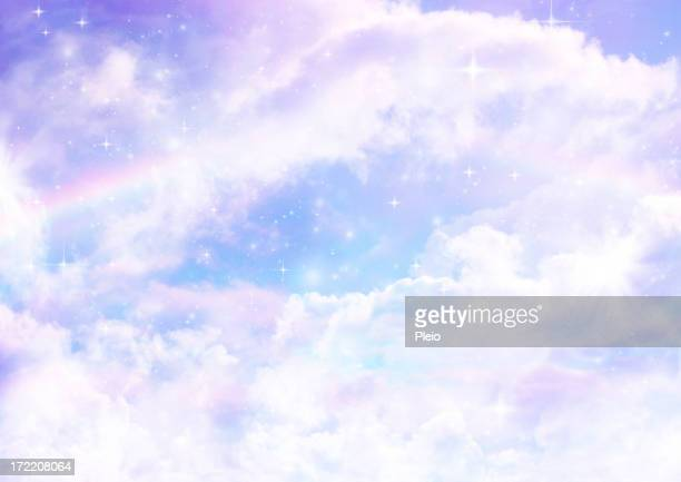 dreamscape with rainbows clouds and stars