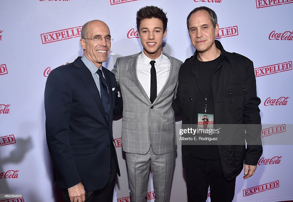 Dreamworks Animation CEO Jeffrey Katzenberg actor Cameron Dallas and producer Brian Robbins attend the premiere of Awesomeness TV's 'EXPELLED' at...