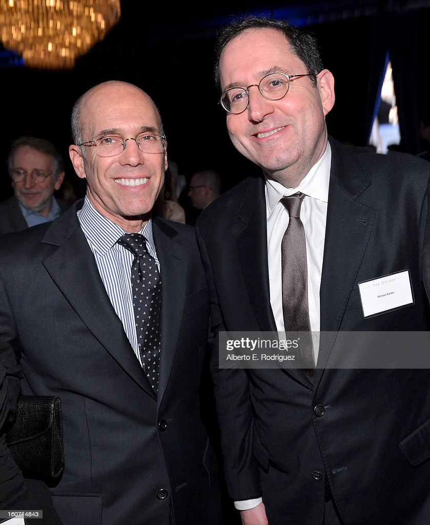 DreamWorks Animation CEO Jeffrey Katzenberg and Co-president of Sony Pictures Classics Michael Barker attend the 85th Academy Awards Nominations Luncheon at The Beverly Hilton Hotel on February 4, 2013 in Beverly Hills, California.