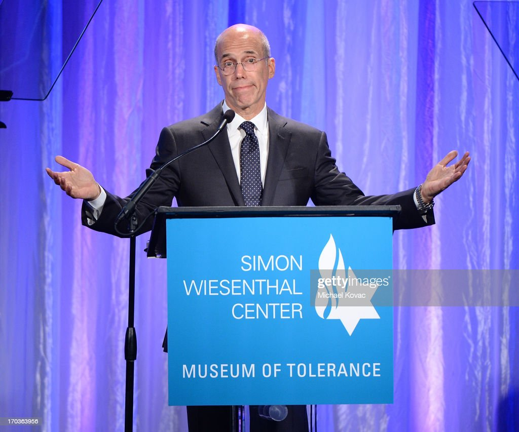 Dreamworks Animation CEO <a gi-track='captionPersonalityLinkClicked' href=/galleries/search?phrase=Jeffrey+Katzenberg&family=editorial&specificpeople=171496 ng-click='$event.stopPropagation()'>Jeffrey Katzenberg</a> presents onstage at the Simon Wiesenthal Center National Tribute Dinner at Regent Beverly Wilshire Hotel on June 11, 2013 in Beverly Hills, California.