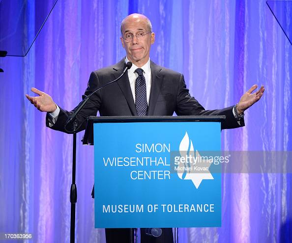 Dreamworks Animation CEO Jeffrey Katzenberg presents onstage at the Simon Wiesenthal Center National Tribute Dinner at Regent Beverly Wilshire Hotel...