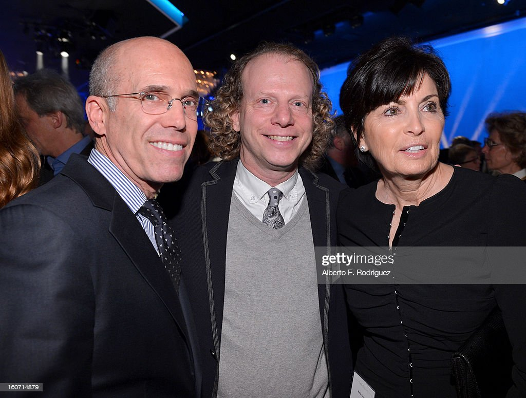 DreamWorks Animation CEO Jeffrey Katzenberg, producer Bruce Cohen, and Marilyn Katzenberg attend the 85th Academy Awards Nominations Luncheon at The Beverly Hilton Hotel on February 4, 2013 in Beverly Hills, California.