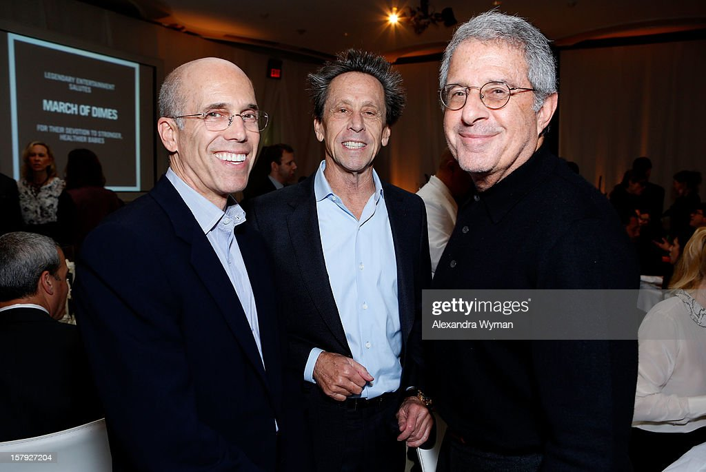 DreamWorks Animation Jeffrey Katzenberg, producer Brian Grazer and Universal Studios President & COO Ron Meyer attend the 7th Annual March of Dimes Celebration of Babies, a Hollywood Luncheon, at the Beverly Hills Hotel on December 7, 2012 in Beverly Hills, California.
