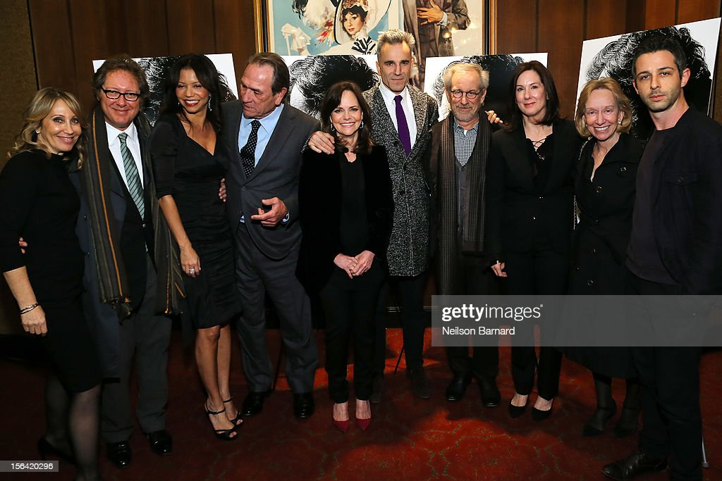 DreamWorks Co-Chairman/CEO Stacey Snider, actors James Spader, Gloria Reuben, Tommy Lee Jones, Sally Field, Daniel Day-Lewis, director Steven Spielberg, producer Kathleen Kennedy, historian Doris Kearns Goodwin and actor Jeremy Strong attend the special screening of Steven Spielberg's 'Lincoln' at the Ziegfeld Theatre on November 14, 2012 in New York City.