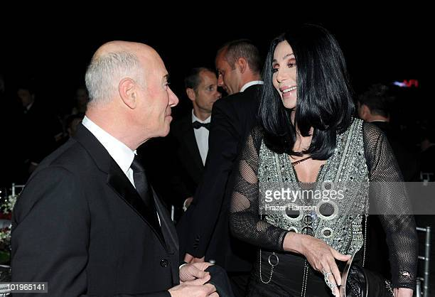 Dreamworks founder David Geffen and singer/actress Cher in the audience during the 38th AFI Life Achievement Award honoring Mike Nichols held at Sony...