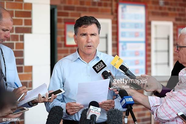 Dreamworld CEO Craig Davidson addresses the media on November 9 2016 in Gold Coast Australia The Gold Coast theme park has been closed since four...