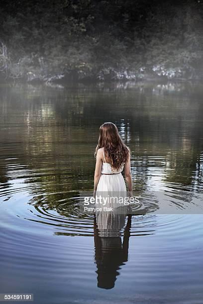 Dreamy Meditative Woman in Water