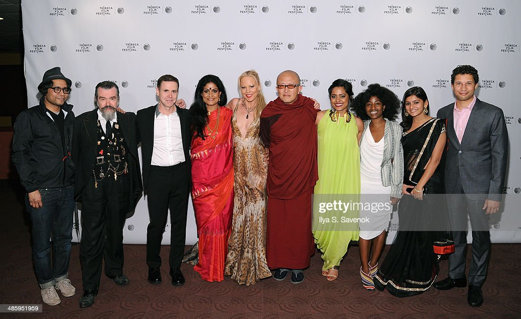 Drechen Drolmas, Joe Coleman, David Urrutia, Geeta Chandran, Whitney Ward, Khyentse Norbu, Shahana Goswami, Nanette Nelms Aakansha Maheshwari and Matthew Zschoche attend the 'Vara: Blessing' Premiere during the 2014 Tribeca Film Festival at Chelsea Bow Tie Cinemas on April 21, 2014 in New York City.