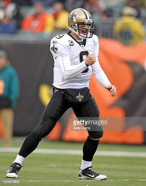 Dree Brees of the New Orleans Saints celebrates after a touchdown during the NFL game against the Cincinnati Bengals at Paul Brown Stadium on...
