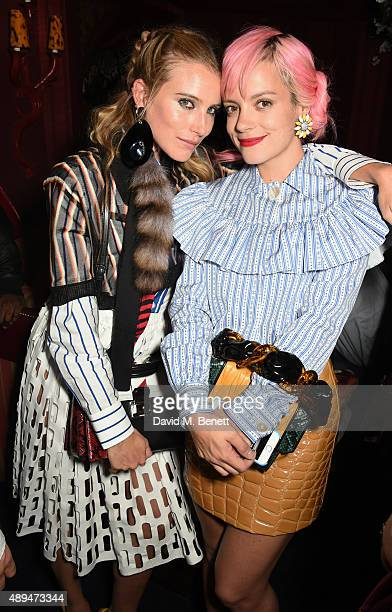 Dree Hemingway and Lily Allen attend the Love Magazine miu miu London Fashion Week party at Loulou's on September 21 2015 in London England