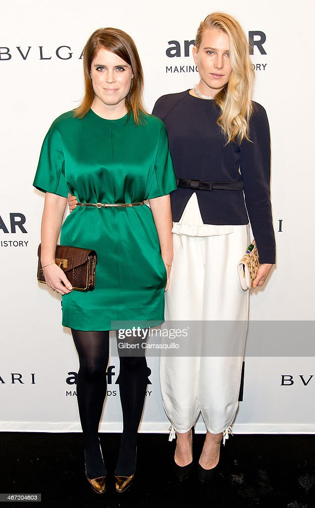 Dree Hemingway (R), wearing Bulgari, attends the 2014 amfAR New York Gala at Cipriani Wall Street on February 5, 2014 in New York City.
