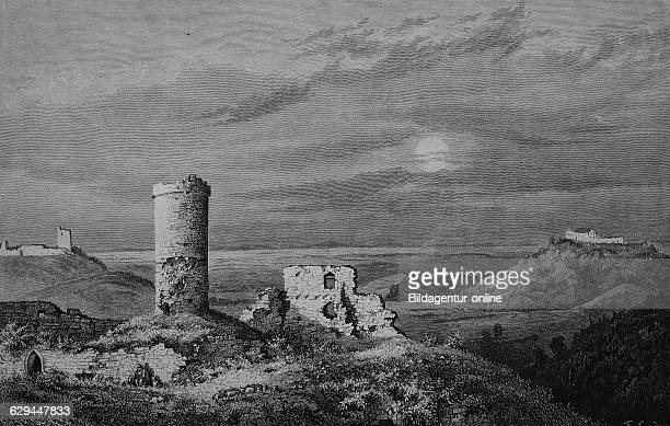 Drei gleichen a medieval castle ensemble thuringia germany historical engraving 1883