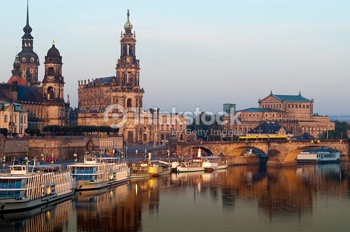 Dresden Brühl Terrace At Sunrise With Elbe River Reflections