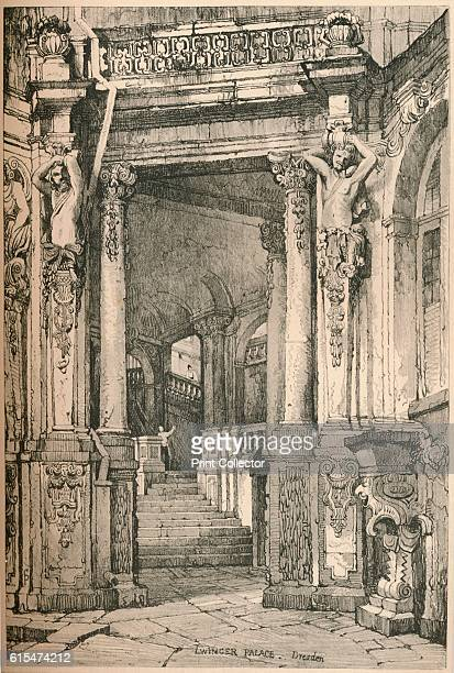 Dresden' c1820 Interior staircase of of Zwinger Palace in Dresden the capital city of the Free State of Saxony in Germany From Sketches by Samuel...