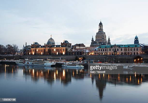 Dresden city skyline reflected in Elbe River