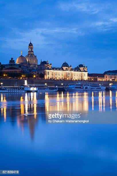 Dresden on the riverbank of Elbe at twilght