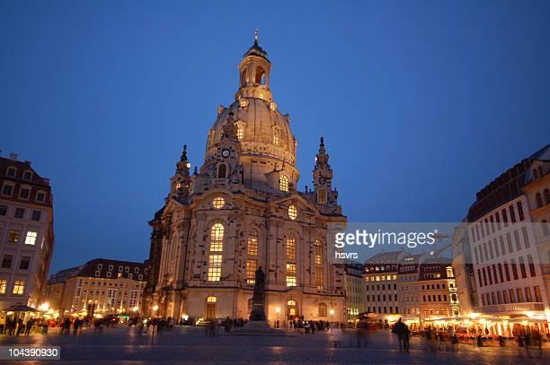 Dresdner Frauenkirche Uhr Night (Deutschland
