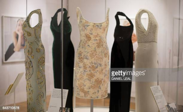 TOPSHOT A dress by designer Catherine Walker and worn by Britain's Diana Princess of Wales at the Christie's gala in New York in 1997 is pictured...