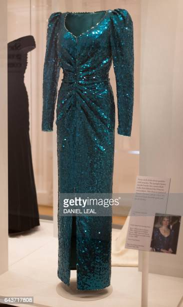 TOPSHOT A dress by designer Catherine Walker and worn by Britain's Diana Princess of Wales during an official visit to Austria in 1986 is pictured...