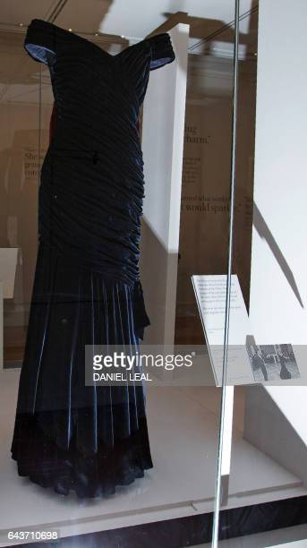 TOPSHOT A dress by designer Victor Edelstein and worn by Britain's Diana Princess of Wales at the State Dinner at the White House in Washington in...