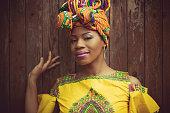 Dress cheerful colors, enjoy. African American woman. Portrait.