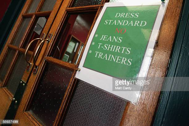 Dress code on the door of the Harrington Club a traditional gentlemans club in Bath on October 15 2005 in Bath England Pubs and clubs preparing for...