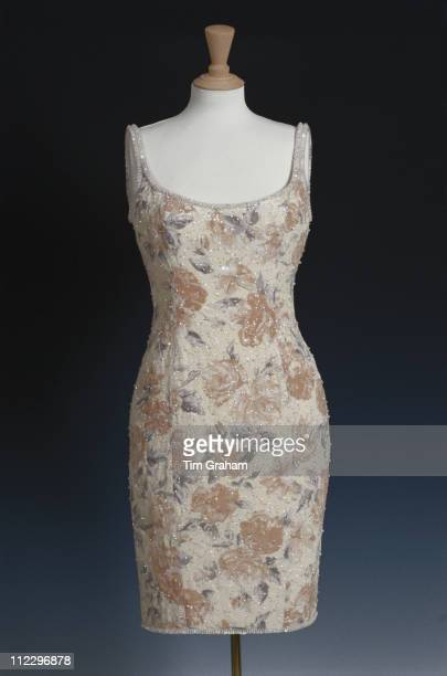 Dress designed by Catherine Walker for Diana Princess of Wales on display at Kensington Palace London England Great Britain 1 February 1998 Diana...