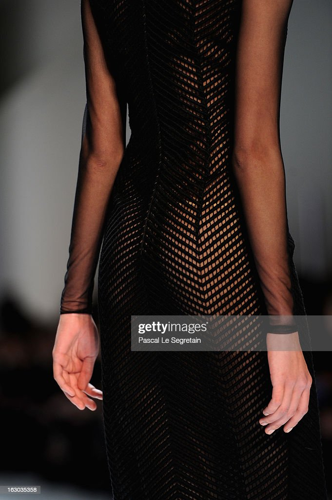 A dress detail is seen as a model walks the runway during Akris Fall/Winter 2013 Ready-to-Wear show as part of Paris Fashion Week on March 3, 2013 in Paris, France.
