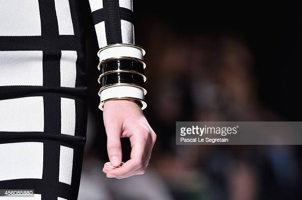 A dress detail is seen as a model walks the runway during the Balmain show as part of the Paris Fashion Week Womenswear Spring/Summer 2015 on...