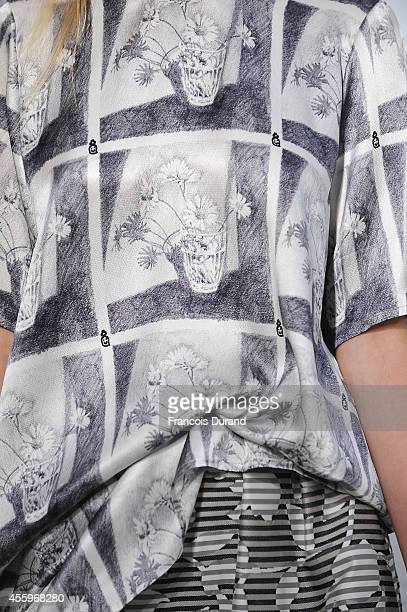 A dress detail is seen as a model walks the runway during the Devastee show as part of the Paris Fashion Week Womenswear Spring/Summer 2015 on...