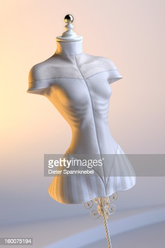 Dress form in shape of an underweight woman : Stock Photo