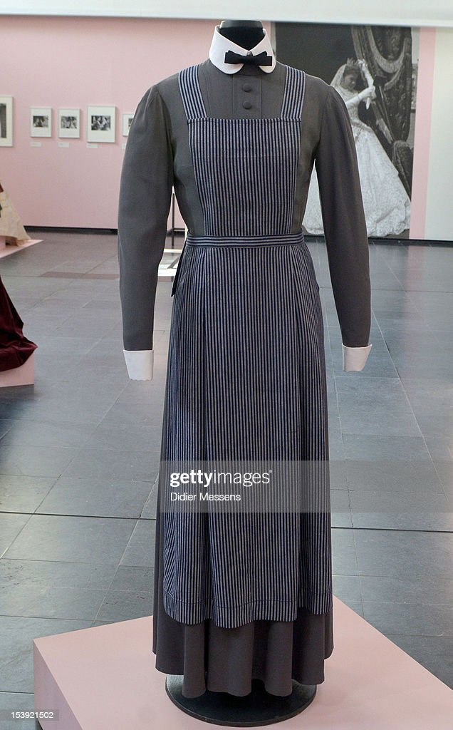 A dress from the 1958 movie Madchen In Uniform is shown as part of The Romy Schneider Exhibition at Caermersklooster on October 11, 2012 in Ghent, Belgium.