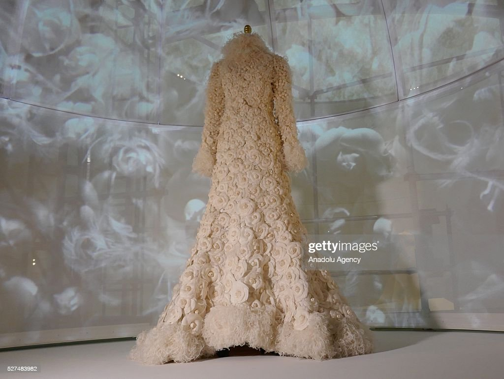 A dress is displayed on a mannequin during the 'Manus x Machina: Fashion In An Age Of Technology' Costume Institute Gala at Metropolitan Museum of Art on May 2, 2016 in New York City, United States.