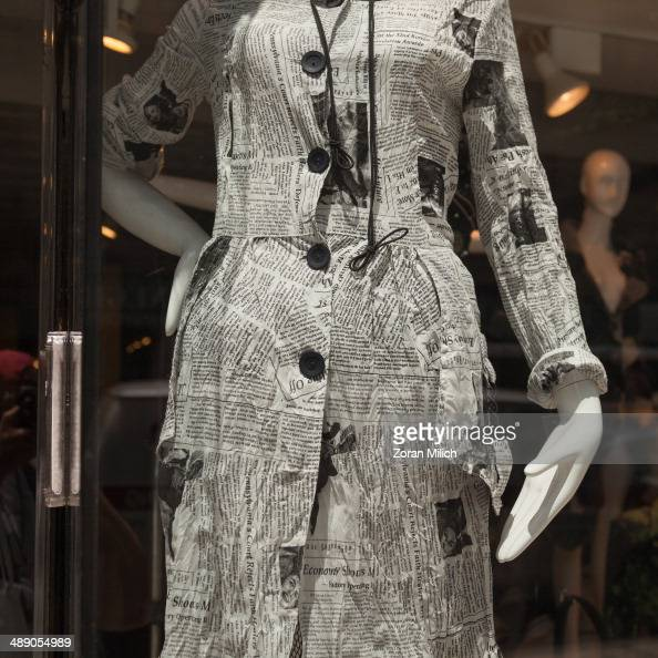 A dress made of recycled news print in the Manhattan borough of New York New York USA