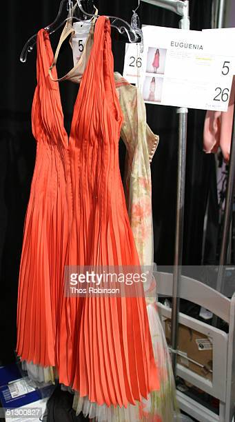 A dress on a rack backstage at the J Mendel Spring 2005 fashion show during Olympus Fashion Week Spring 2005 September 13 2004 in New York City