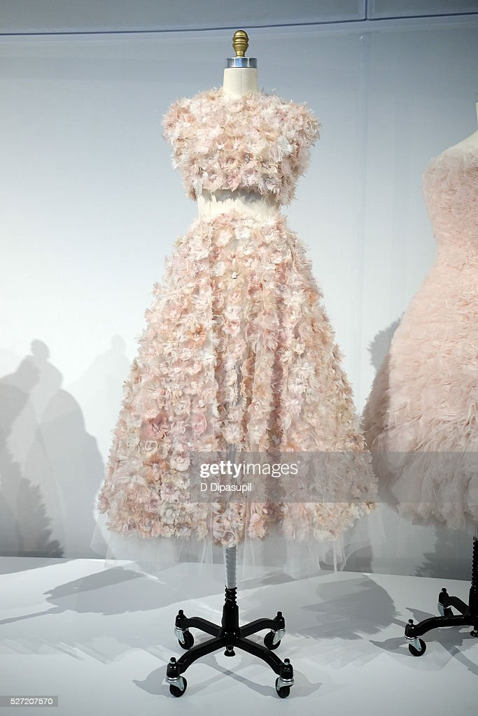 A dress on display at the 'Manus x Machina: Fashion in an Age of Technology' press preview at the Metropolitan Museum of Art on May 2, 2016 in New York City.