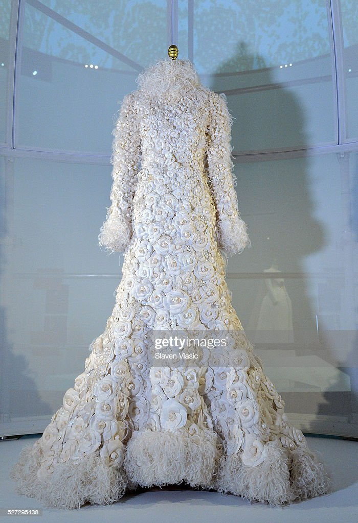 A Dress on display at the 'Manus x Machina: Fashion in an Age of Technology' press preview at the Metropolitan Museum of Art on at Metropolitan Museum of Art on May 2, 2016 in New York City.
