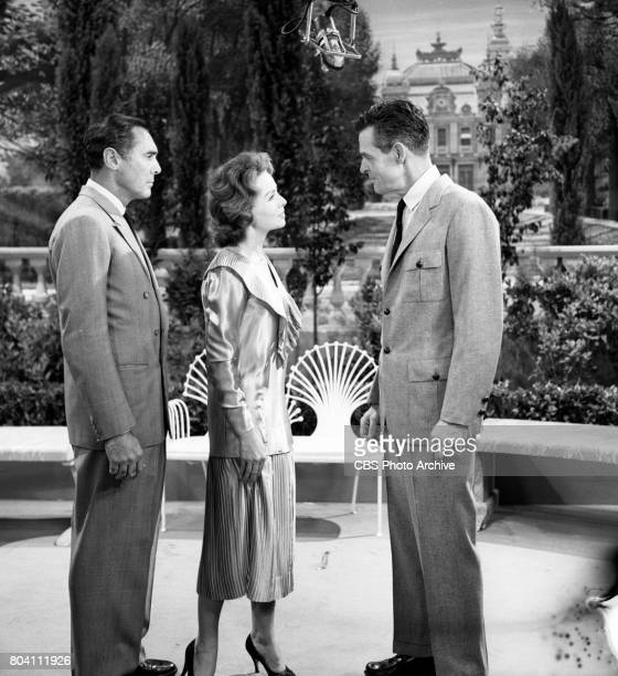 Dress rehearsal of the CBS television program Playhouse 90 the adaptation of F Scott Fitzgeralds The Great Gatsby Pictured is Left to right Phillip...