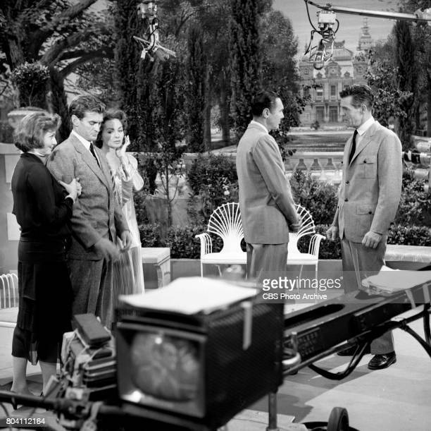 Dress rehearsal of the CBS television program Playhouse 90 the adaptation of F Scott Fitzgeralds The Great Gatsby Pictured is Left to right Patricia...