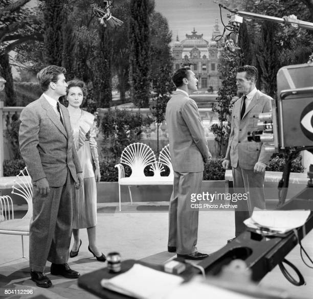 Dress rehearsal of the CBS television program Playhouse 90 the adaptation of F Scott Fitzgeralds The Great Gatsby Pictured is Left to right Rod...