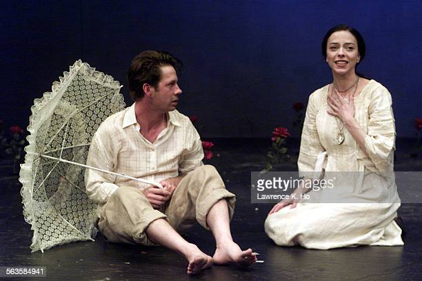 Dress rehearsal of the play Seagull by Chekhov at the Actor's Gang in Hollywood Pic shows Brent Hinkley as Trigorin and Juliet Landau as Nina in the...