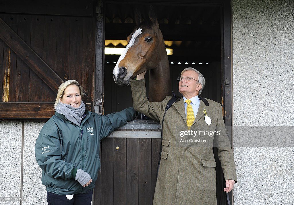 Dressage rider Laura Collett with Kauto Star and owner Clive Smith at Kempton racecourse on December 26, 2012 in Sunbury, England.
