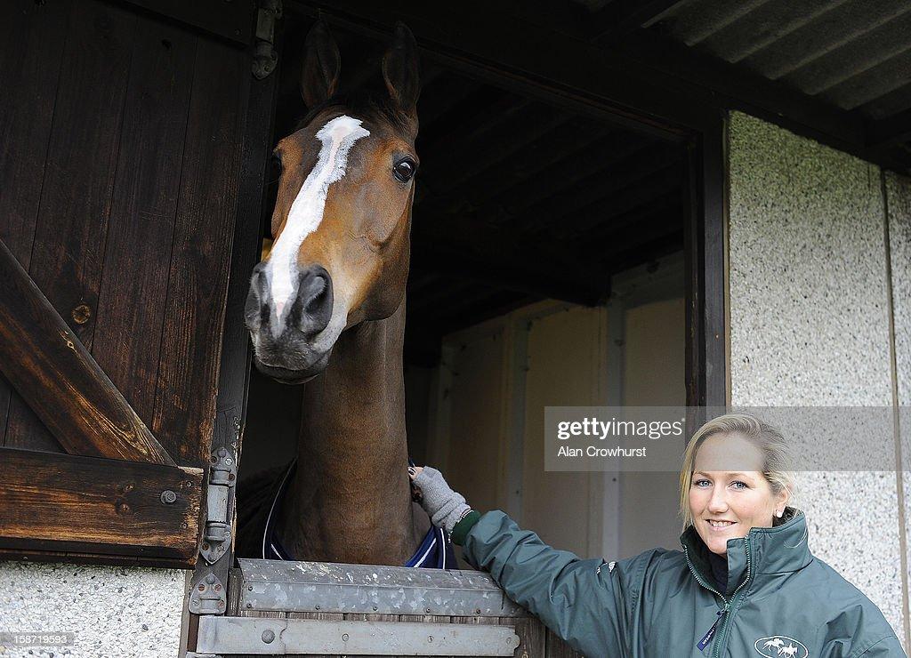 Dressage rider Laura Collett with Kauto Star at Kempton racecourse on December 26, 2012 in Sunbury, England.