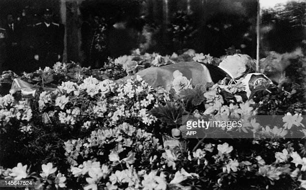 Dressed in a black western suit the dead body of North Korean President Kim Il Sung lies in a flowerbedecked open coffin at his presidential palace...