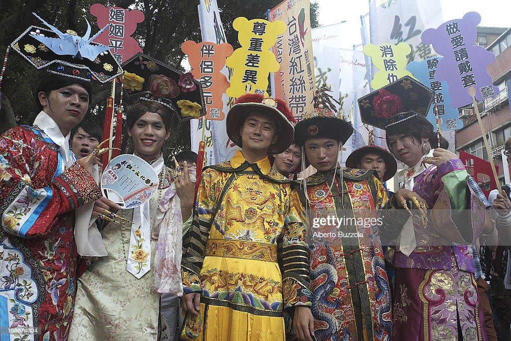 Dressed in fancy costumes reminiscent of ancient China, participants at the Taipei Gay Pride Parade celebrate in harmony and fun.